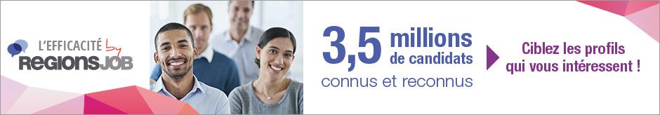 L'Efficacité RegionsJob, c'est 3,5 millions de candidats connus et reconnus. Ciblez les profils qui vous intéressent